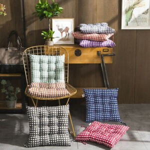 Seat Pad Dining Garden Kitchen Chair Cushions Tie On Gingham Checks UK SELLER