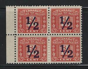 CANADA - #FX109 - 1/2c on 3/10c RED THREE LEAF MINT MARGIN BLOCK OF 4 MNH