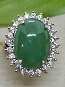 Ice Green Natural Jadeite Jade Ring/冰种晴绿天然翡翠戒指