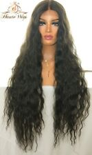 WAVY XXX LONG 42 INCHES LACE FRONT WIG DEEP BLACK STUNNING HUMAN HAIR BODY WAVE