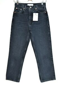 Topshop EDITOR High Rise Straight Leg Blue Black Cropped Jeans Size 8 W26 L30