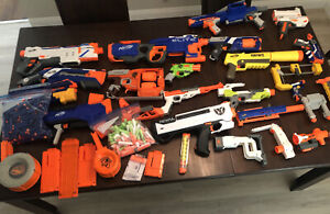 Nerf Guns and Accessories Lot