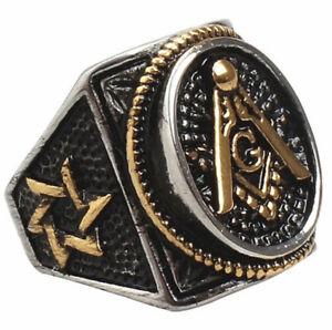 Men Masonic Ring Square G & Pillars Freemason Master Mason Gold Tone Size 7-14