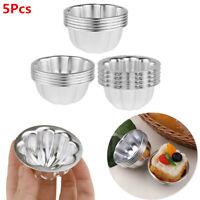 5Pcs Aluminum Alloy Egg Tart Molds Cupcake Cake Muffin Baking Cups Tartlets Pans