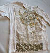 Chico's Shirt Top Womens Gold Foil Flowers Spring  Size 0