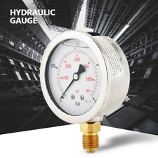 "Metal Hydraulic Pressure Gauge 0 400bar 0 5800psi G1/4"" 63mm Dial Double Scale"