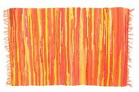 RAG RUG FAIR TRADE INDIAN MAT HAND LOOMED BRAIDED RECYCLED COTTON 60x90cm ORANGE