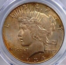 1934 D PEACE DOLLAR PCGS MS 62 APPEALING OLIVE/AMBER KEY DATE