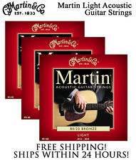 ** 3 SETS - MARTIN M140 ACOUSTIC GUITAR STRINGS LIGHT 80/20 BRONZE **