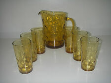 Hazel Atlas Glass EL DORADO Gold 7 pc Beverage Set 64 oz Pitcher 6 Tumbler