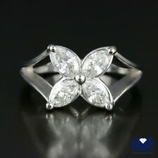 Natural 1.18 Ct Marquise Diamond Cocktail Ring & Right Hand Ring 14K White Gold