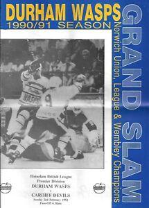 1992 Durham Wasps v Cardiff Devils Ice Hockey Programme (2/2/92)