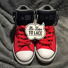 NWT Converse No Time To Lace STREET Mid Black/Red Juniors 5