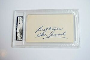 DON NEWCOMBE 1949-60 Brooklyn Dodgers PSA Certified AUTOGRAPH Index Card