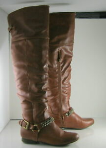new ladies Tan Flat Round Toe Sexy Long Over Knee Sexy Boots women Size 8