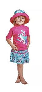 NWT UV Skinz Kids' 3-piece Swim Set Girls Sunwear UPF 50+ Tropical Bird 4T