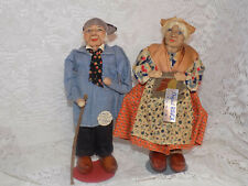 Old Cloth French Ravca Doll Pair Dolls Tagged 10""