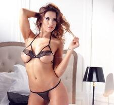 Intimo donna 2 pezzi reggiseno e perizoma sexy trassgressivo sex dress black nig