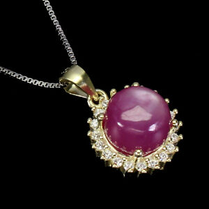 Round Red Ruby 8mm Cz 14K Yellow Gold Plate 925 Sterling Silver Necklace 18 Ins