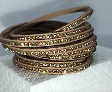 Slake Crystal Wrap Bracelet made w Swarovski Crystal Dark Tan Alcantara Leather