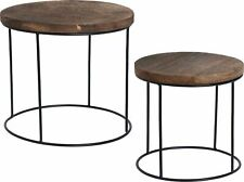 Home Staging Decorative Side Table Wood Top and Metal Base Set of 2