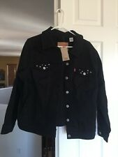 LEVI'S WOMENS BLACK STUDDED DENIM JACKET SIZE LARGE