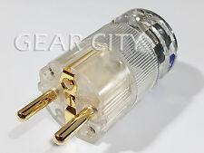 ppc1e Gold EU Schuko 16A Mains Power Plug Male OFC Connector Cable Clear HiFi