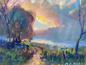Original Luminous Sunset Oil Painting Hudson River Valley Tonalist Impressionism