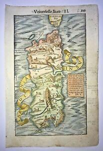 SARDINIA 1568 SEBASTIAN MUNSTER UNUSUAL ANTIQUE ENGRAVED MAP 16TH CENTURY