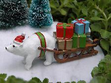Miniature Dollhouse FAIRY GARDEN ~ North Pole CHRISTMAS Polar Bear with Sleigh
