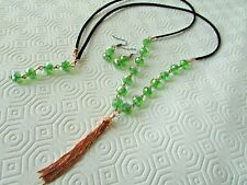 Green Crystal Beads with copper Drop Long Necklace & Earrings on Black cord