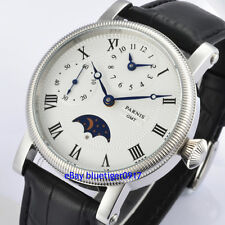 Parnis 42mm Classic Hand Winding GMT Function Moon Phase Watch Men Wristwatches