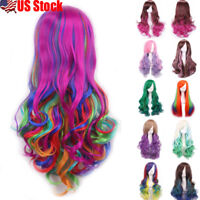 US 70cm Fashion Full Curly Wigs Cosplay Costume Anime Party Hair Wavy Long Wig