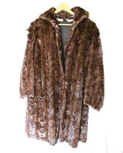 Ladies 3/4 Length Real Fur Coat Antique with Wear no Lining FREE SH