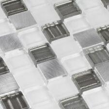 mosaïque céramique carrelage Blanc/gris équerre aluminium métal 2,3 x 2,3 cm