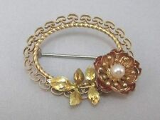KREMENTZ FLOWER PIN BROOCH WITH CULTURED PEARL **