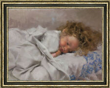 Original Oil Painting art female Impressionism Small girl on canvas 30x40""