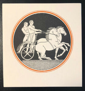 Rockwell Kent ex Libris Bookplate - Horse Chariot, Two Nude Men - Unused, 1930s