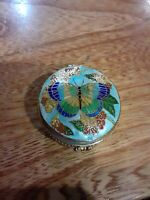 Vtg Chinese Cloisonne Butterfly Trinket Box