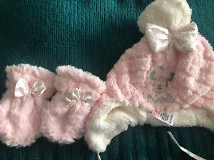 Baby Minnie Hat Gloves Mittens 6-12 Months Pink White Soft