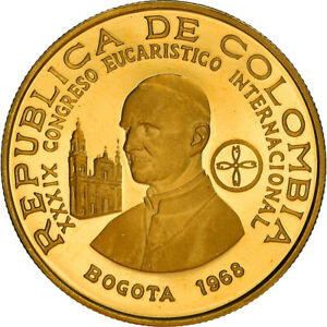 [#867744] Coin, Colombia, 200 Pesos, 1968, Bogota, Proof, MS, Gold, KM:232