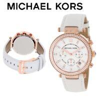 Michael Kors MK2281 Parker Reloj Oro Rosa con Wihite Cuero - Nuevo en Caja