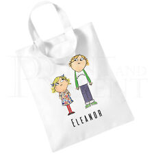 Personalised Children's Charlie & Lola Cotton Mini Tote Bag- Book Bag-White
