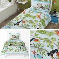 Kids Duvet Covers Green Rainforest Jungle Monkeys Quilt Cover Bedding Sets