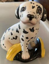 Vintage-1987 Franklin Mint Dalmatian Porcelain Dog Figurine with Boot