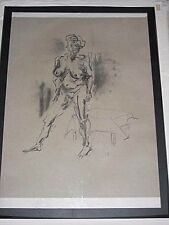 Life figure drawing expressive charcoal, female woman standing 2, A1 size appx @