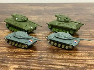 Set of 4 VTG Die Cast US Army & French Tanks Made in Hong Kong USA40177404! 33
