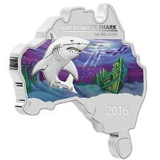 2016 $1 Australian Map Shaped Coin Series Great White Shark 1oz Silver Coin