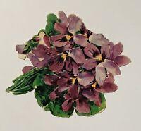 Antique Bouqet Flower Shaped Floral Flowers Hydrangea Purple Get Well Card Paper
