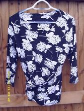 Crew Neck 3/4 Sleeve Floral Regular Size T-Shirts for Women